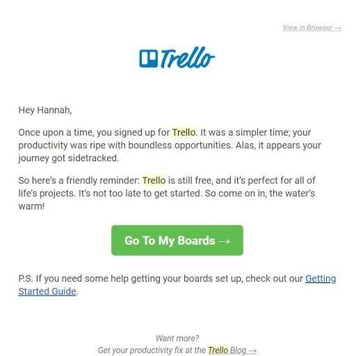 Trello email marketing examples