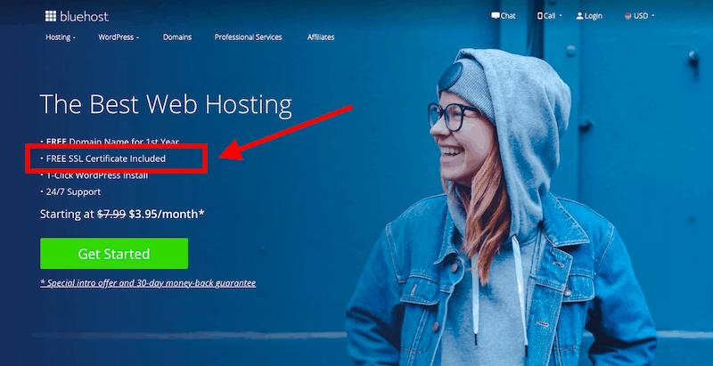 Bluehost Free SSL certificate