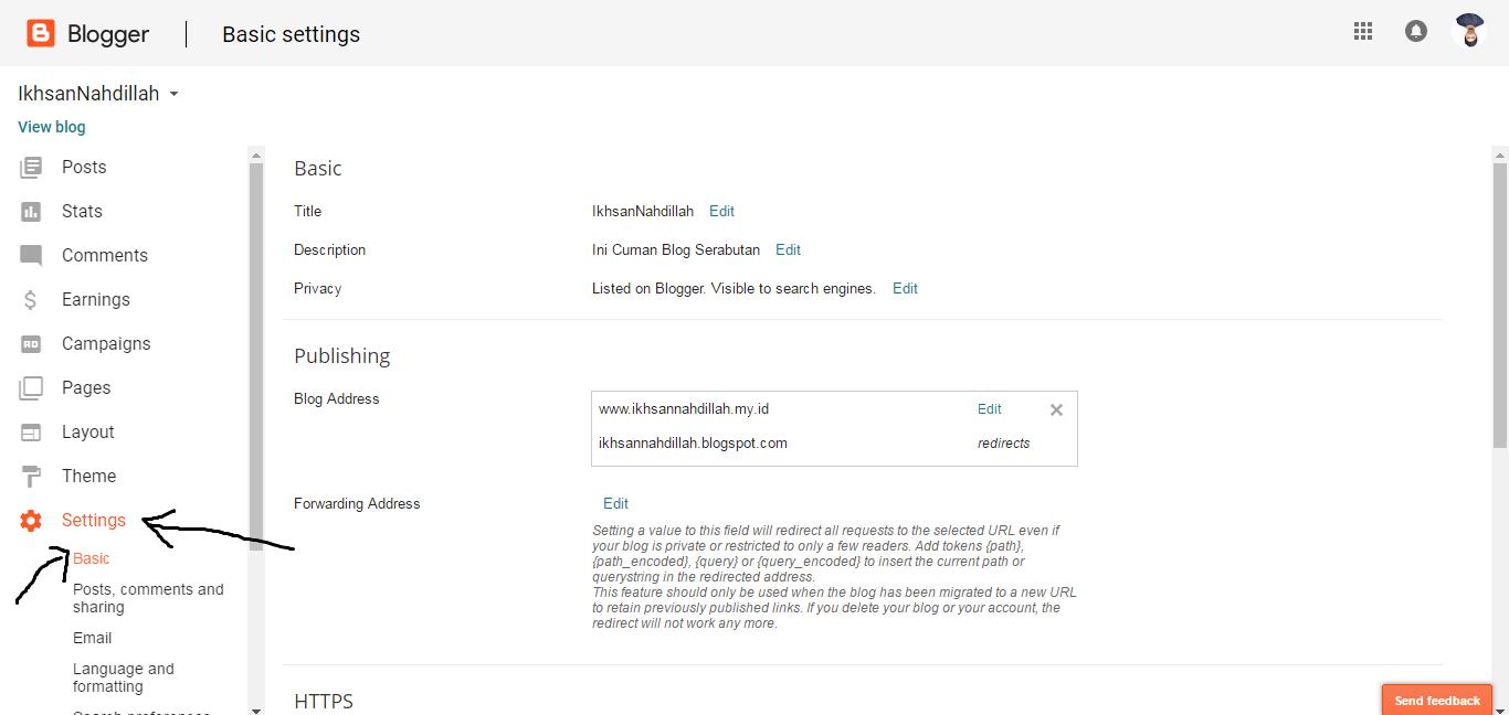 setting custom domain blogspot
