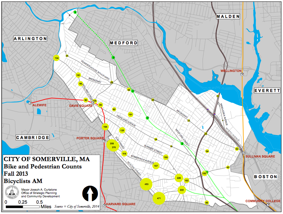 A map showing the most used bicycling routes in Somerville, including Beacon Street.