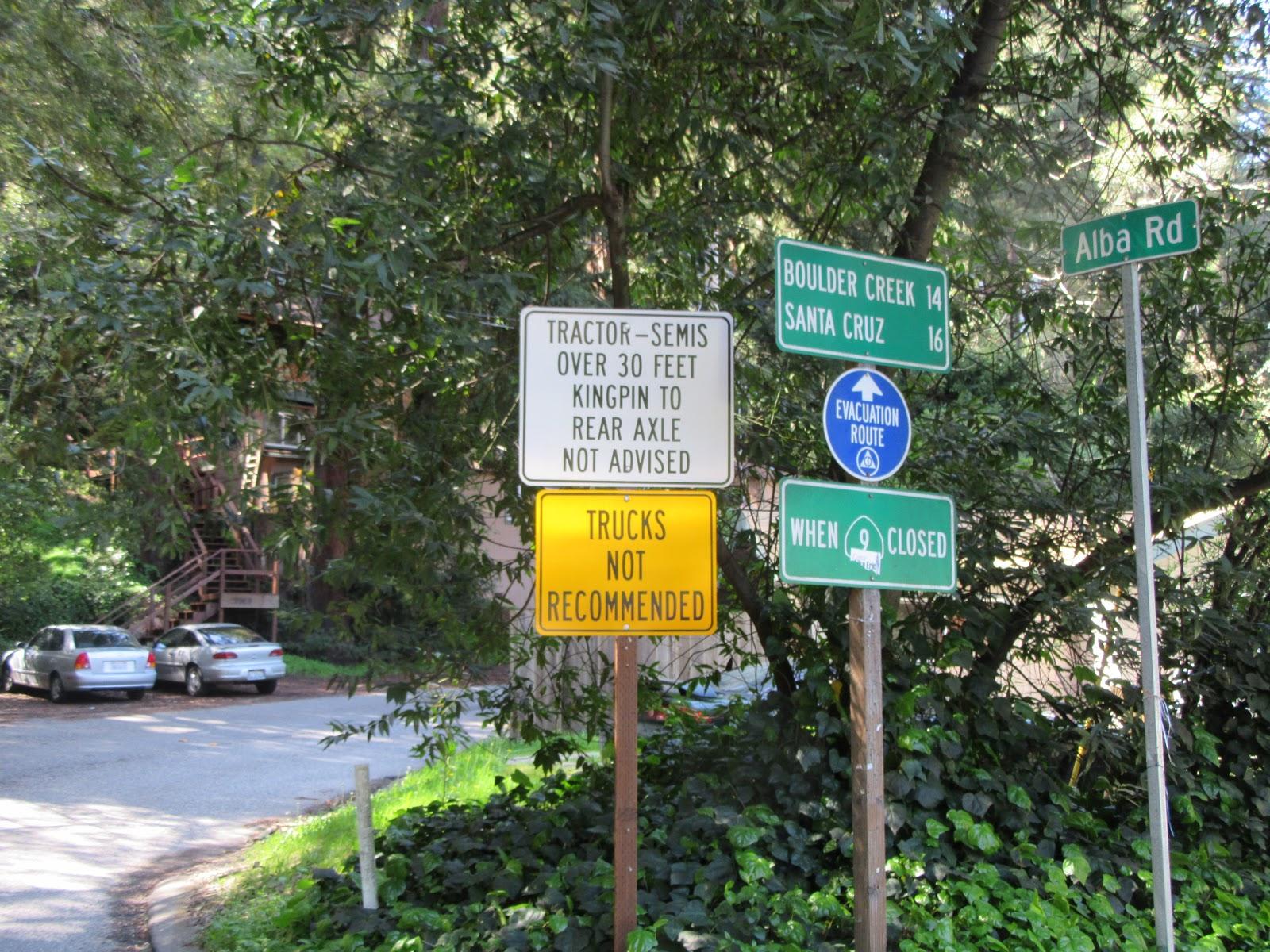 Beginning of the Alba Road climb by bike, Ben Lomond, Santa Cruz County