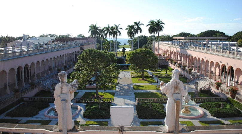 the courtyard of The Ringling museum in Sarasota