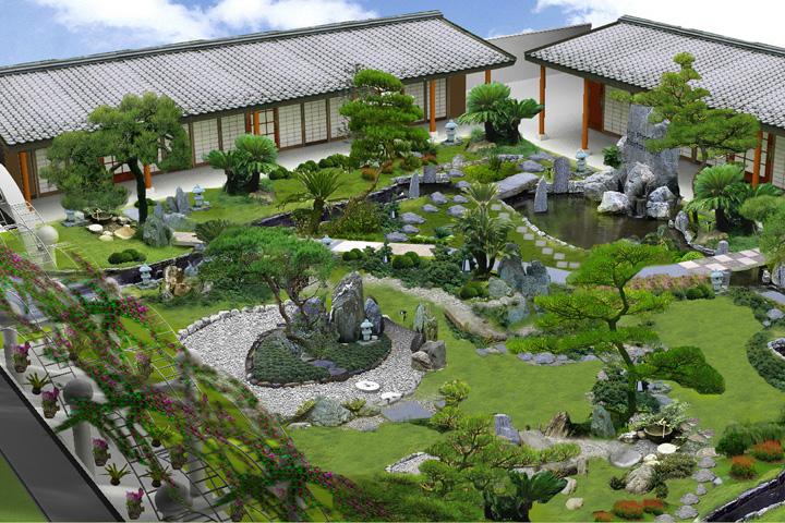 Bố trí sân vườn với các phân khu nhỏ