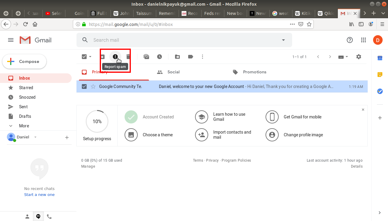 Report spam highlighted in gmail's tool bar