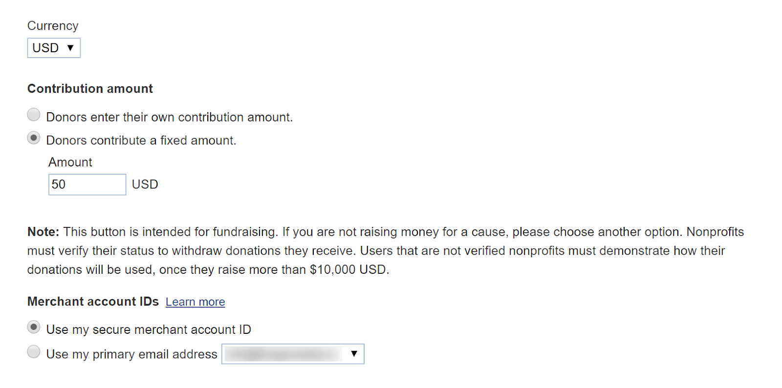 PayPal donate button merchant account ID
