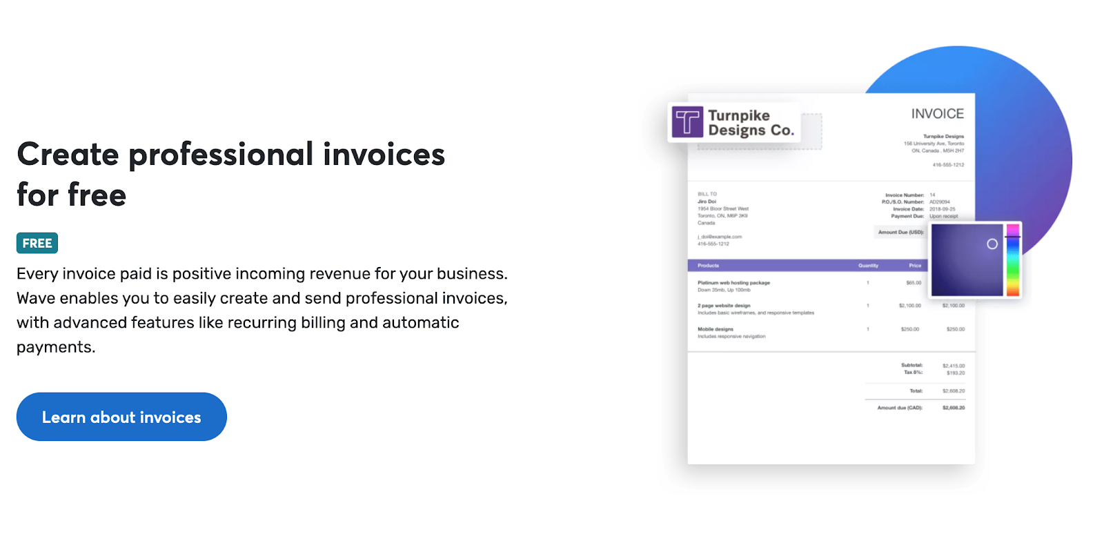 Wave, a tool for creating and sending invoices
