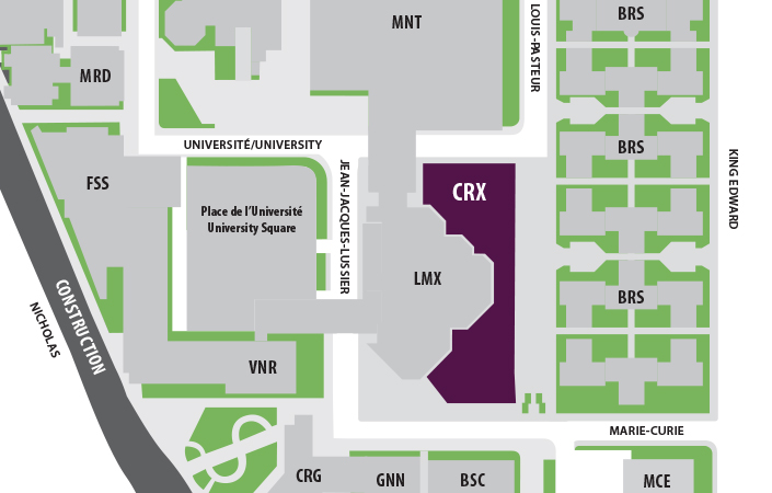 uOttawa map with the CRX highlighted