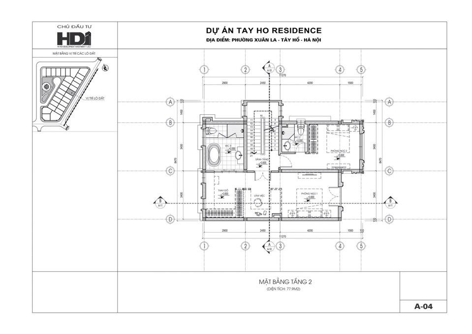 mặt bằng thiết kế tầng 2, 3