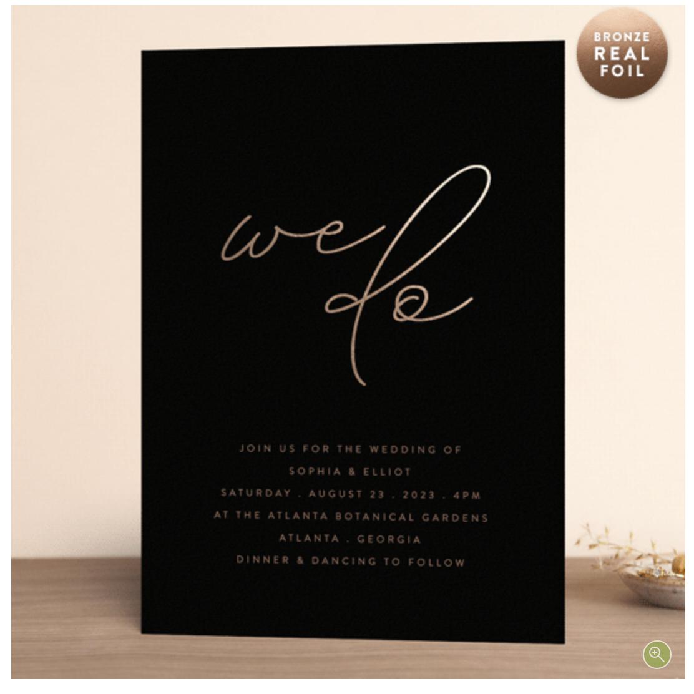copper foil modern wedding invitation