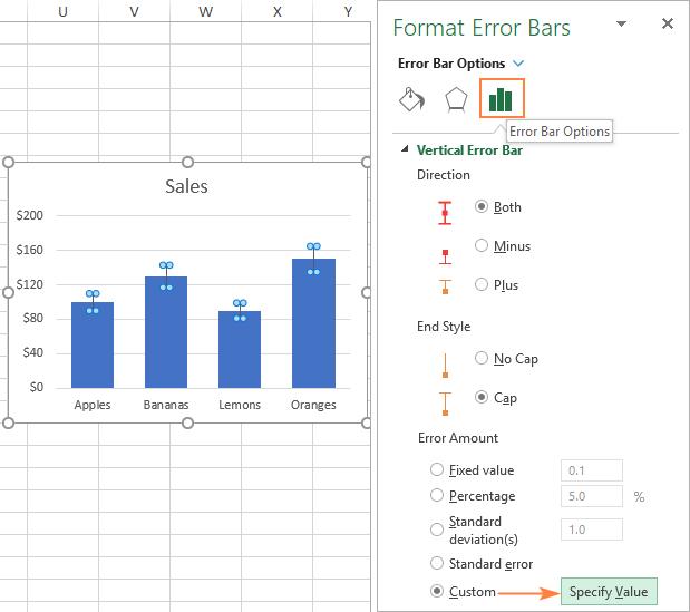 Making custom error bars in Excel