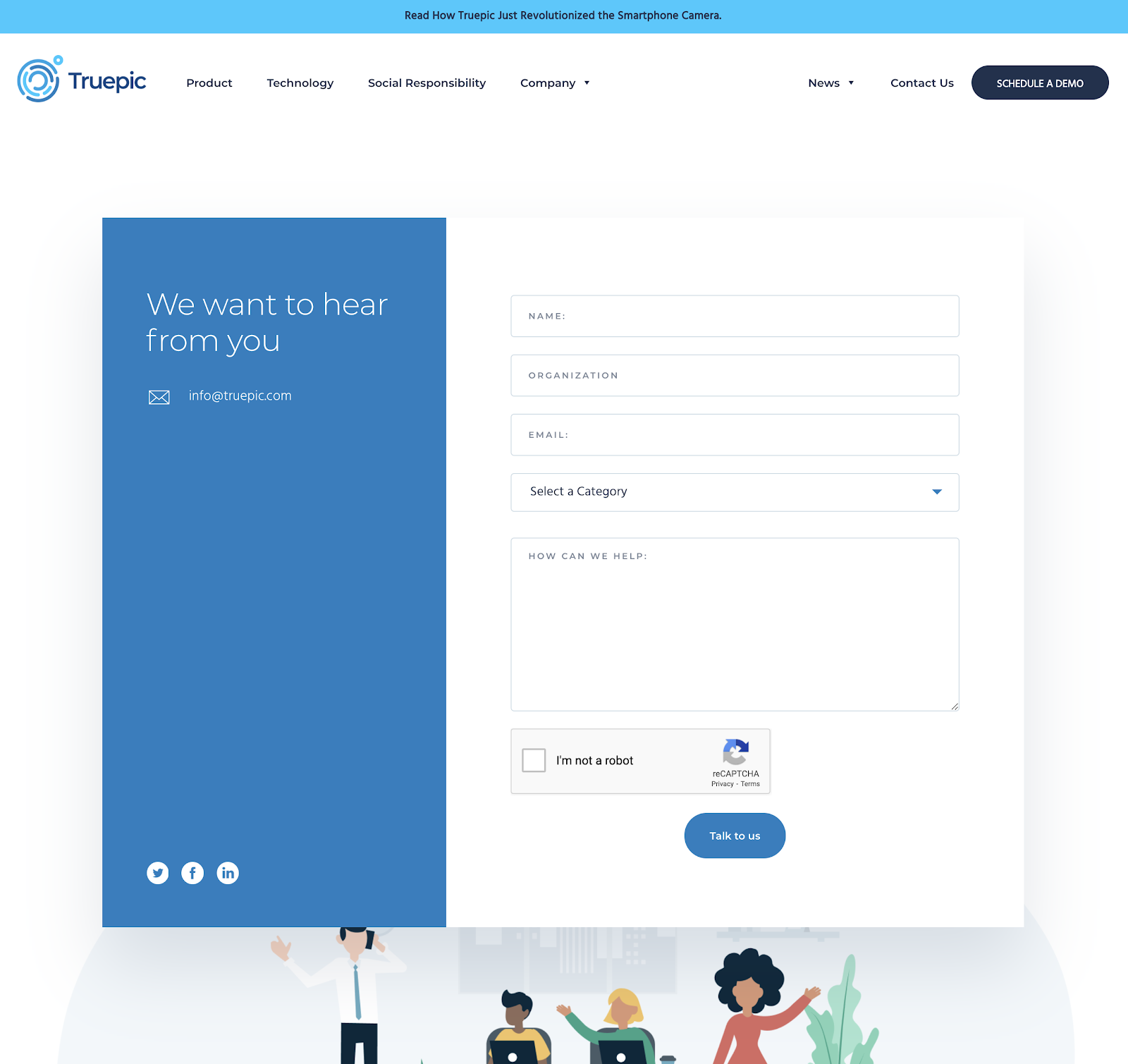 Truepic contact page