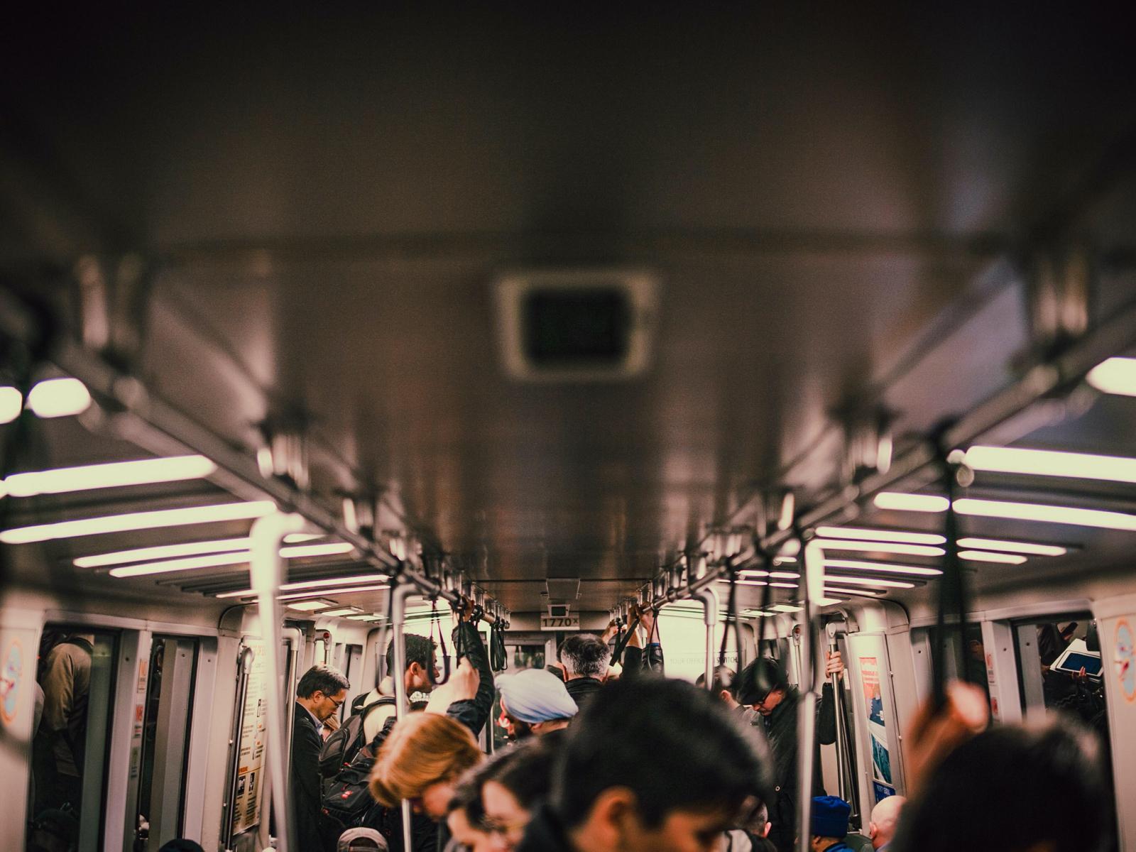 San Fransisco people on BART transit