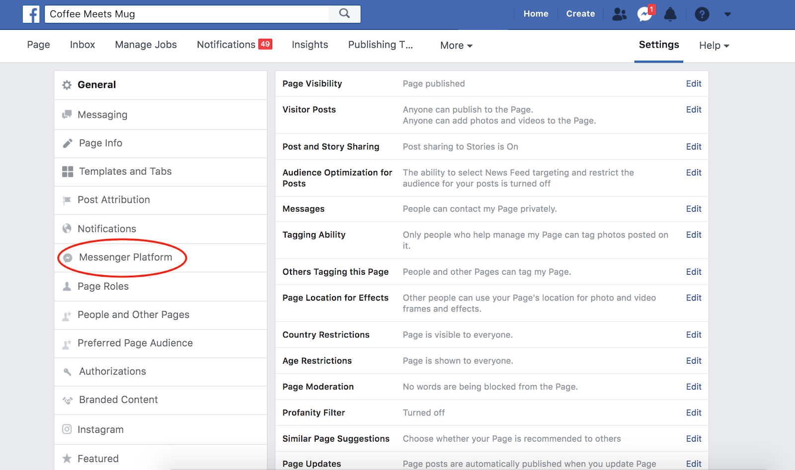 How to apply for Facebook Subscription Messaging in Settings