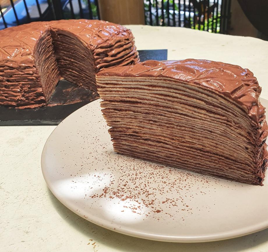 A piece of chocolate cake on a plate  Description automatically generated