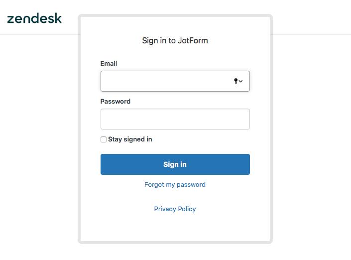 signin to JotForm in Zendesk