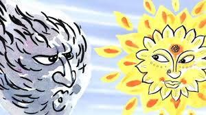 Image result for the sun and wind fighting color drawing