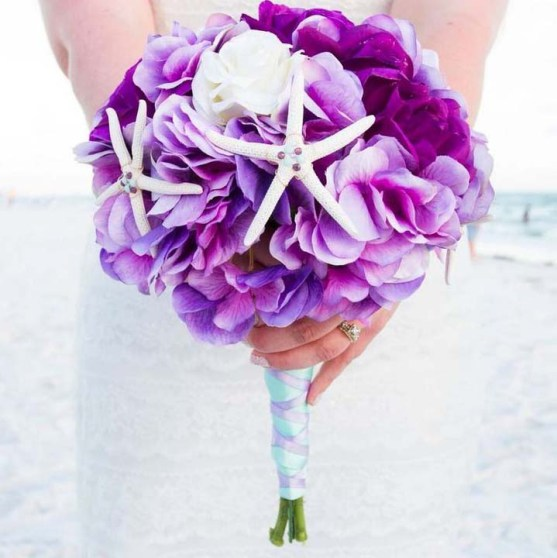 lilac and starfish bouquet