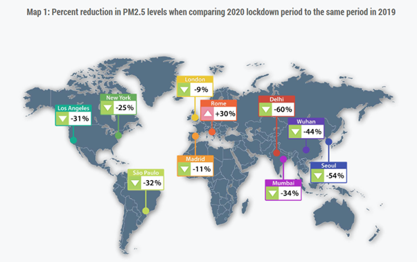 Percent reduction in PM2.5 levels when comparing 2020 lockdown to 2019