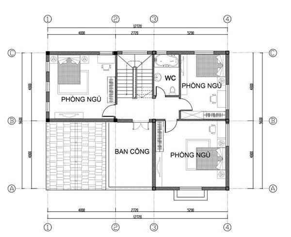Bản vẽ mặt bằng biệt thự mái Thái tầng 2