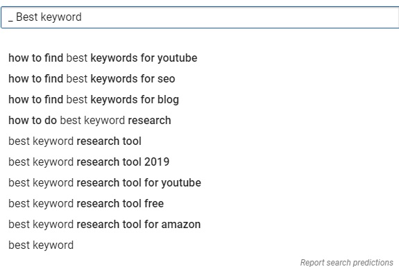 YouTube Keyword Suggestion Bar Example