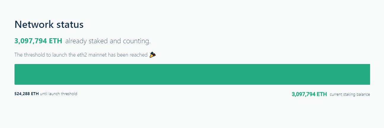 Количество ETH в депозитном контракте Ethereum 2.0