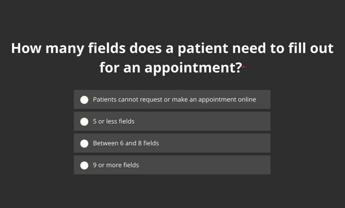 How many fields does a patient need to fill out for an appointment?