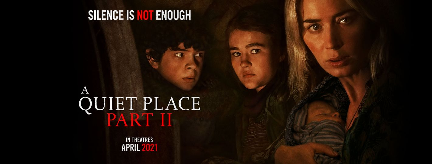 Image may contain: 3 people, meme, night, closeup and indoor, text that says 'SILENCE IS NOT ENOUGH QUIET PLACE PART II THEATRES APRIL 2021'