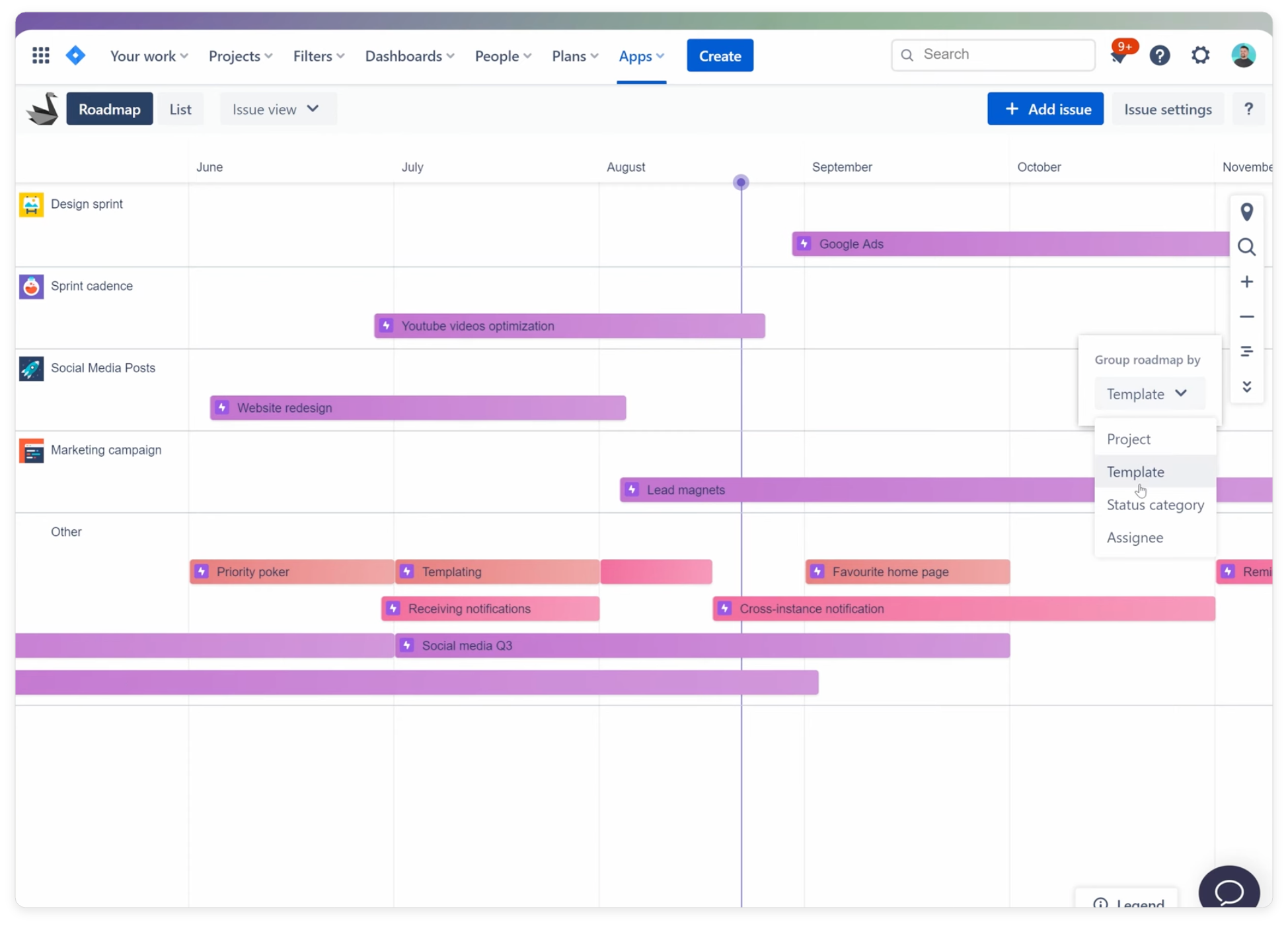 Roadmap Jira for planning projects