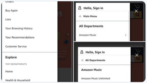 скриншот трехуровневого меню на амазон