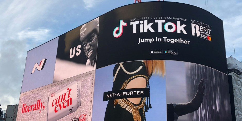 TikTok billboard for BRIT Award 2020