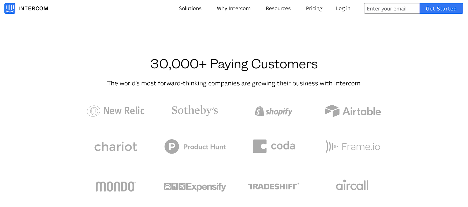 intercom homepage showing 30000 customers.