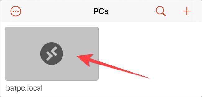 hãy nhấn vào thẻ có tên PC của bạn để bắt đầu phiên máy tính từ xa.
