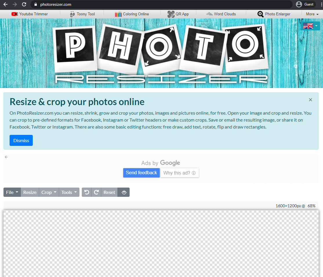photo resizer landing page