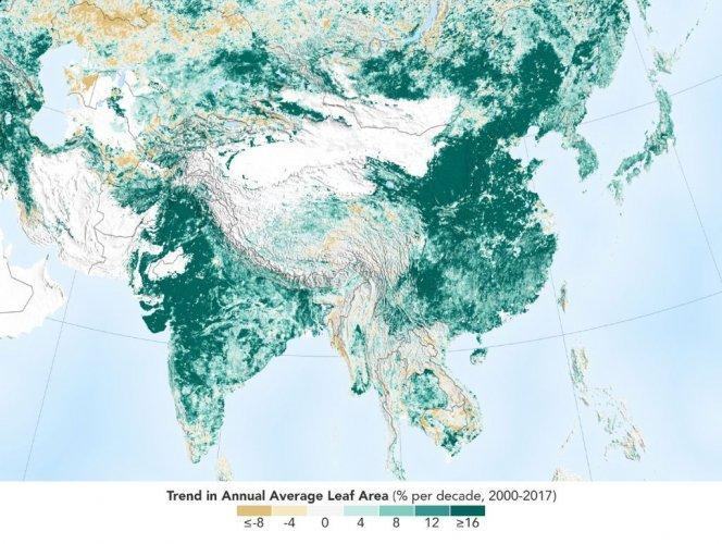 Image result for Leading global greening effort by India and China