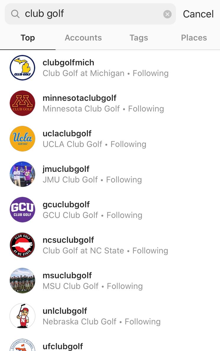 College Golf Instagram accounts