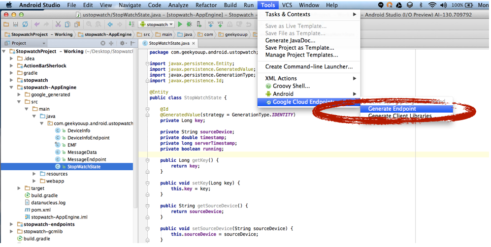 Google I/O 2013 Demo: Android Studio + Cloud Endpoints