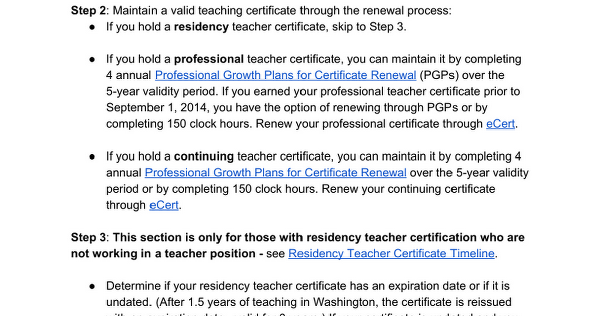 Guidance For Principals Maintaining A Valid Teaching Certificate