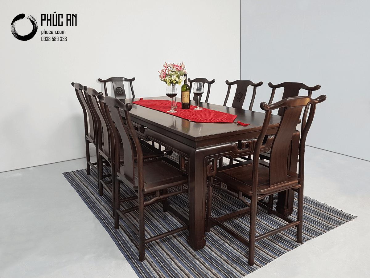 Bộ bàn ăn gỗ Chiêu Liêu (Chiu Liu) mặt vuông mẫu Dạ Móc 8 ghế
