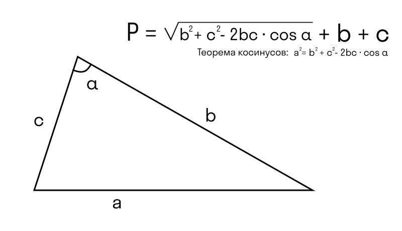 формула вычисления периметра треугольника, если известны две стороны