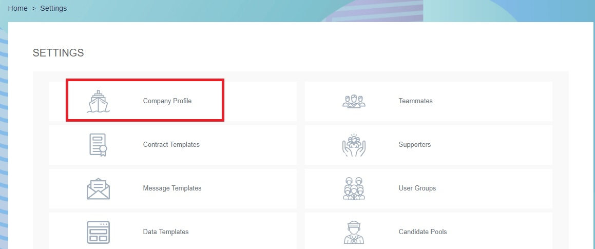 Page showing where to find the employer feature Company Profile on Martide