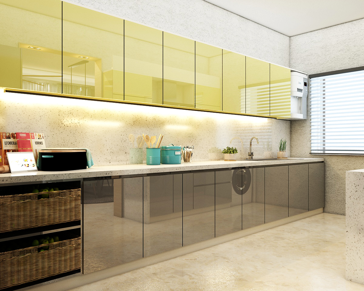 Straight kitchen layout design