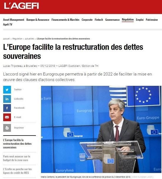 Europe - dette souveraine - restructuration