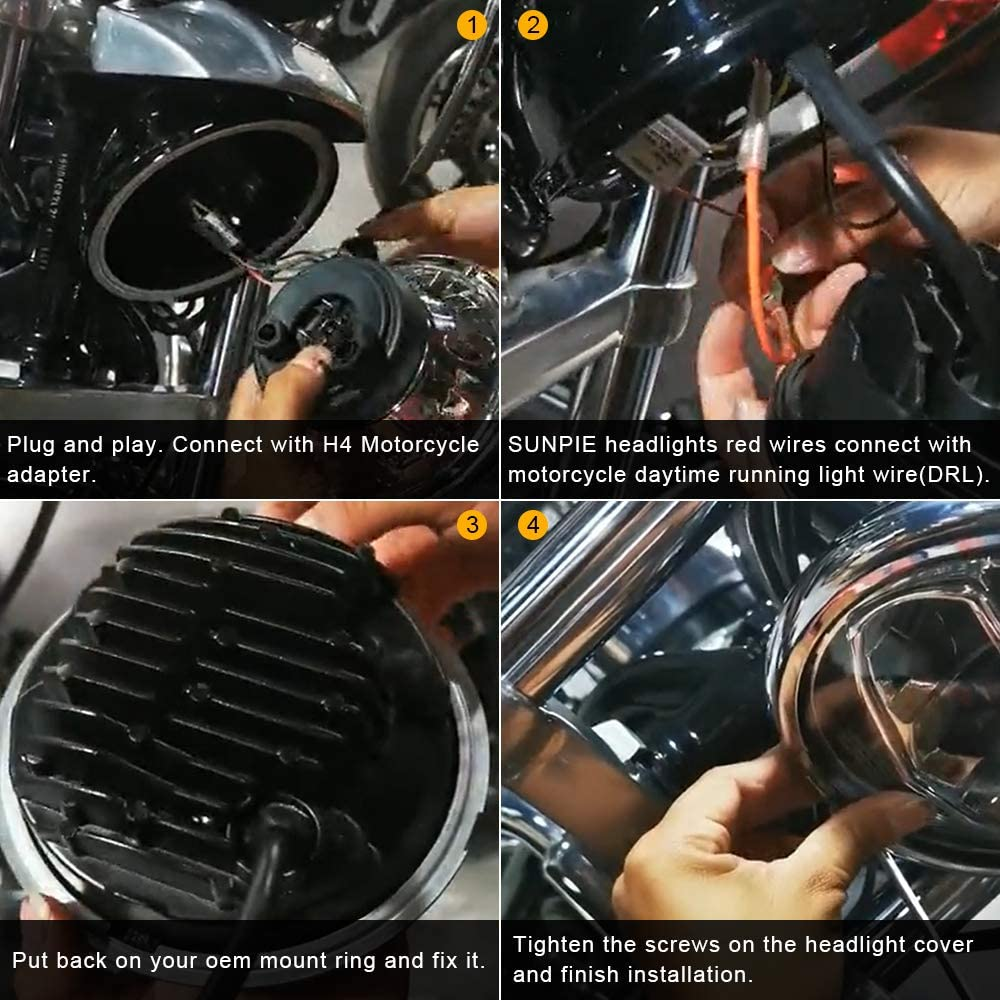 harley LED headlight connection