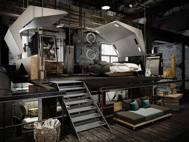 Go with an Industrial Aesthetic for Men's Bedroom Ideas