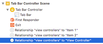 Select Relationship 'view controllers' to 'View Controller'