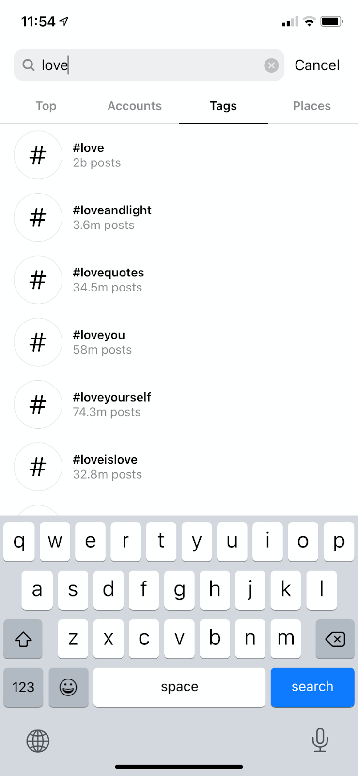 "Instagram search page on the ""Tags"" tab"
