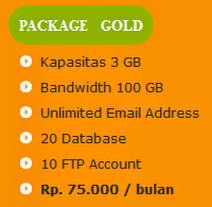 tarif paket hosting gold anekahosting.com