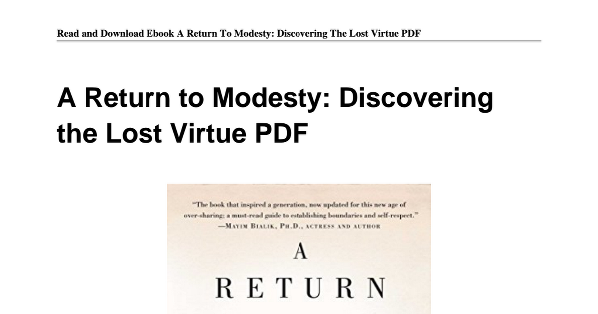 1476756651 return modesty discovering lost virtuepdf google drive fandeluxe Images