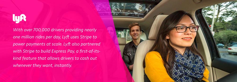 Stripe utilizes their partnership with Lyft as an influencer testimonial.