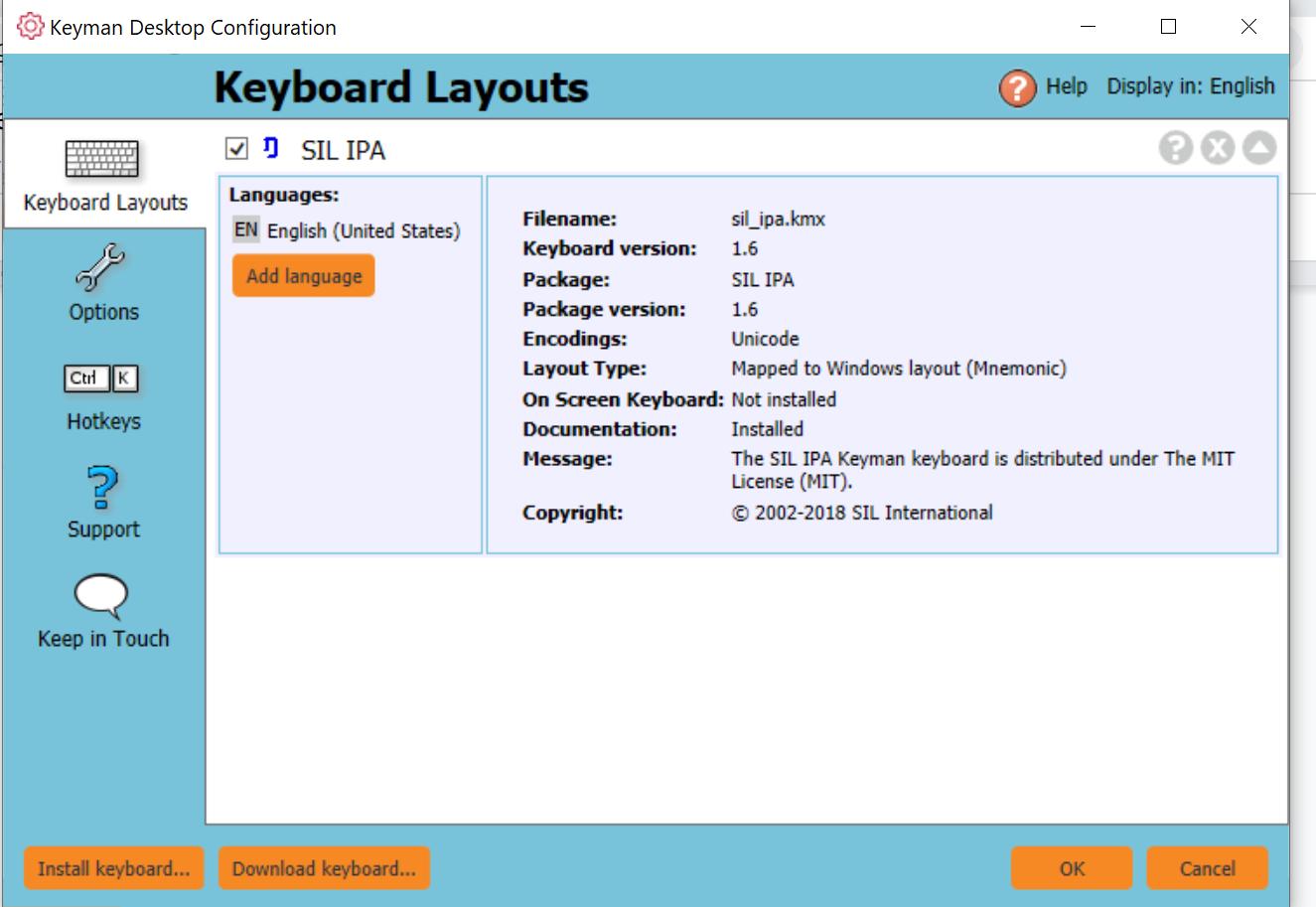 screenshot of keyboards in Keyman